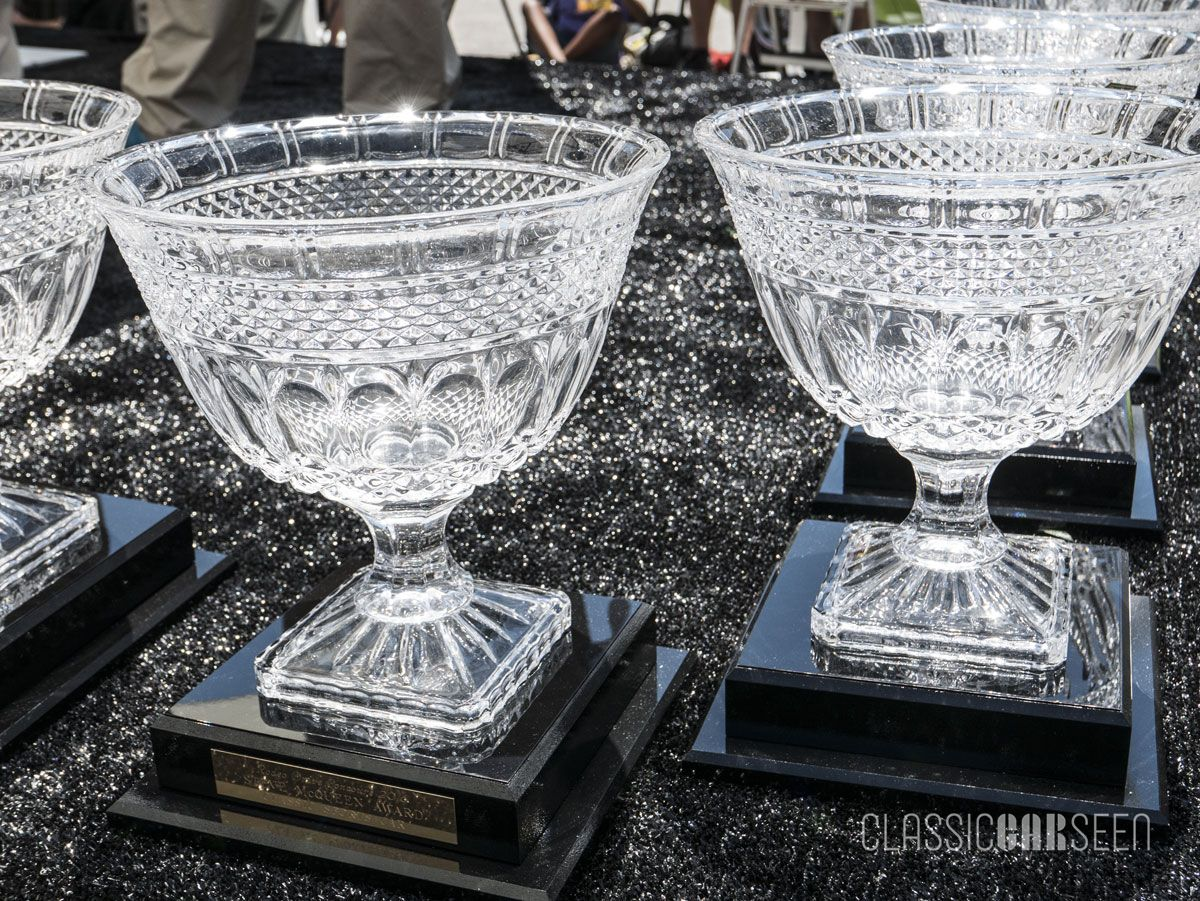 Custom crystal trophies await their lucky recipients.